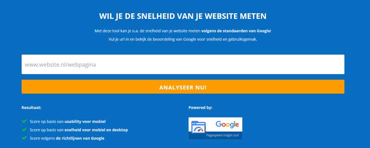 website snelheid test